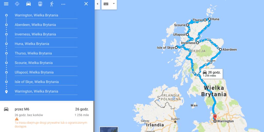 Szkocja, zarys trasy