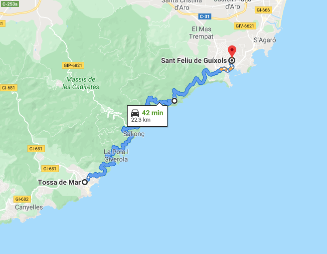 Z Sant Feliu de Guíxols do Tossa de Mar